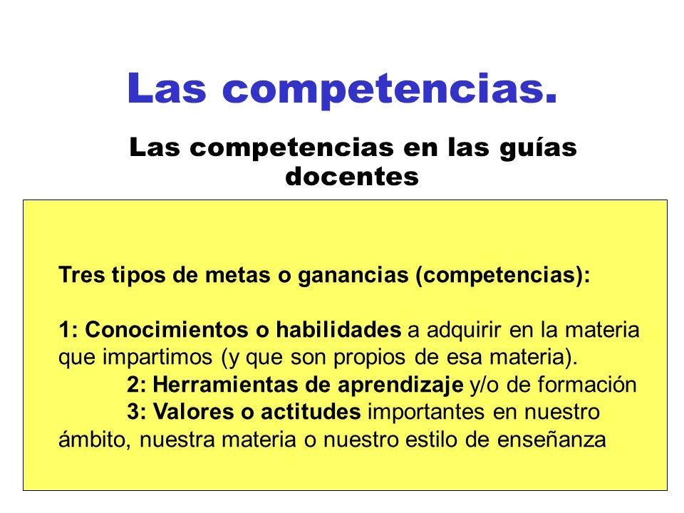 Las competencias en las guías docentes