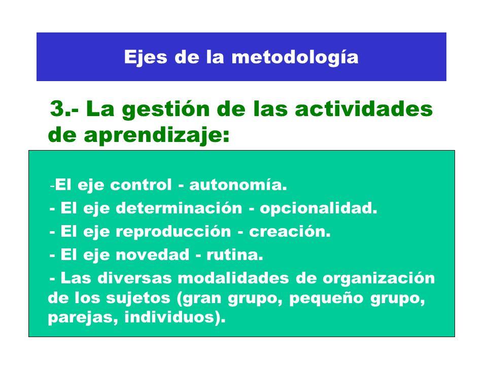 3.- La gestión de las actividades de aprendizaje: