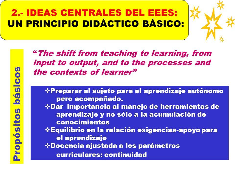2.- IDEAS CENTRALES DEL EEES: UN PRINCIPIO DIDÁCTICO BÁSICO: