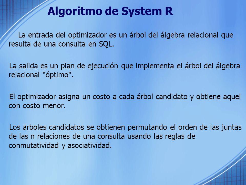 Algoritmo de System R La entrada del optimizador es un árbol del álgebra relacional que resulta de una consulta en SQL.