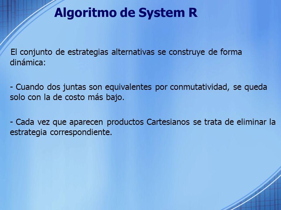 Algoritmo de System R El conjunto de estrategias alternativas se construye de forma dinámica:
