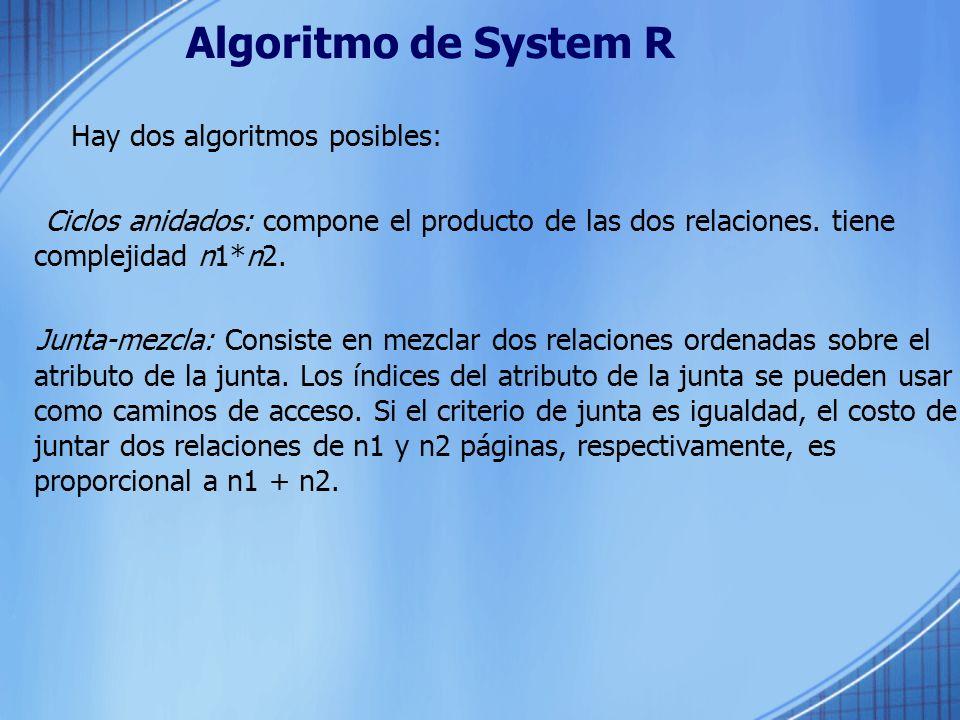 Algoritmo de System R Hay dos algoritmos posibles:
