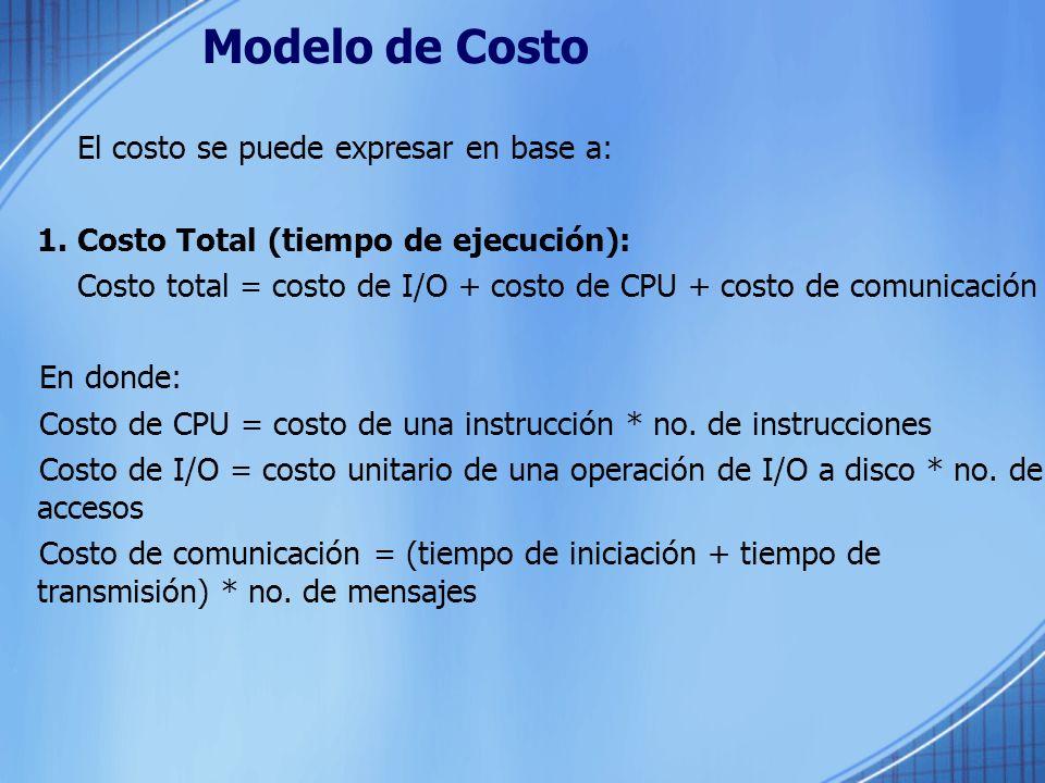 Modelo de Costo El costo se puede expresar en base a: