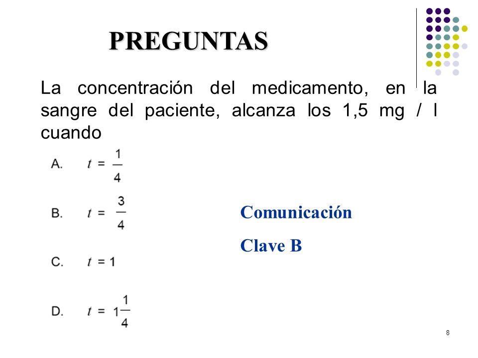 29/03/2017 PREGUNTAS. La concentración del medicamento, en la sangre del paciente, alcanza los 1,5 mg / l cuando.