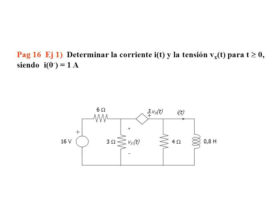Pag 16 Ej 1) Determinar la corriente i(t) y la tensión vx(t) para t  0,