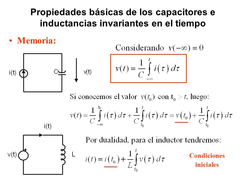 Propiedades básicas de los capacitores e inductancias invariantes en el tiempo