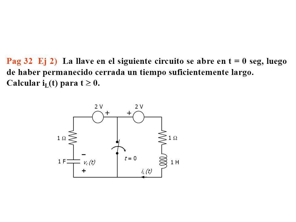 Pag 32 Ej 2) La llave en el siguiente circuito se abre en t = 0 seg, luego de haber permanecido cerrada un tiempo suficientemente largo.