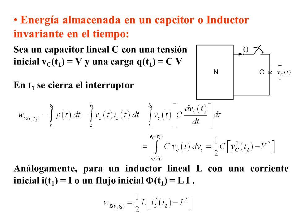 Energía almacenada en un capcitor o Inductor invariante en el tiempo: