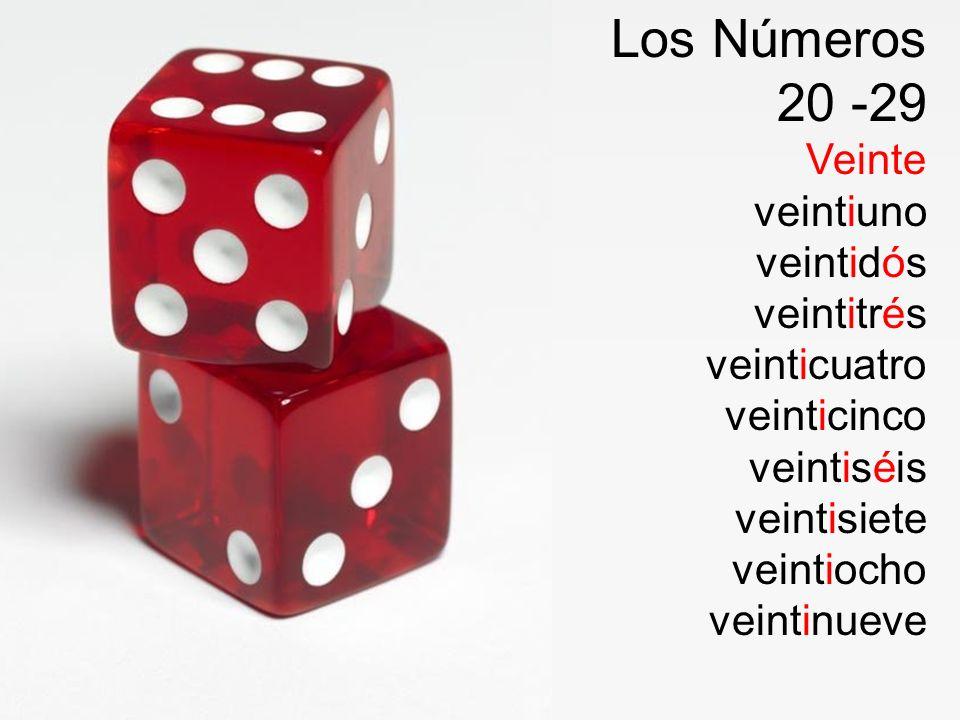 Los Números 20 -29 Veinte veintiuno veintidós veintitrés veinticuatro