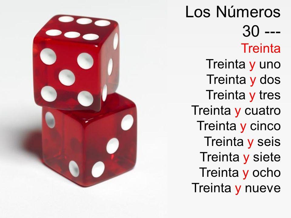 Los Números 30 --- Treinta Treinta y uno Treinta y dos Treinta y tres
