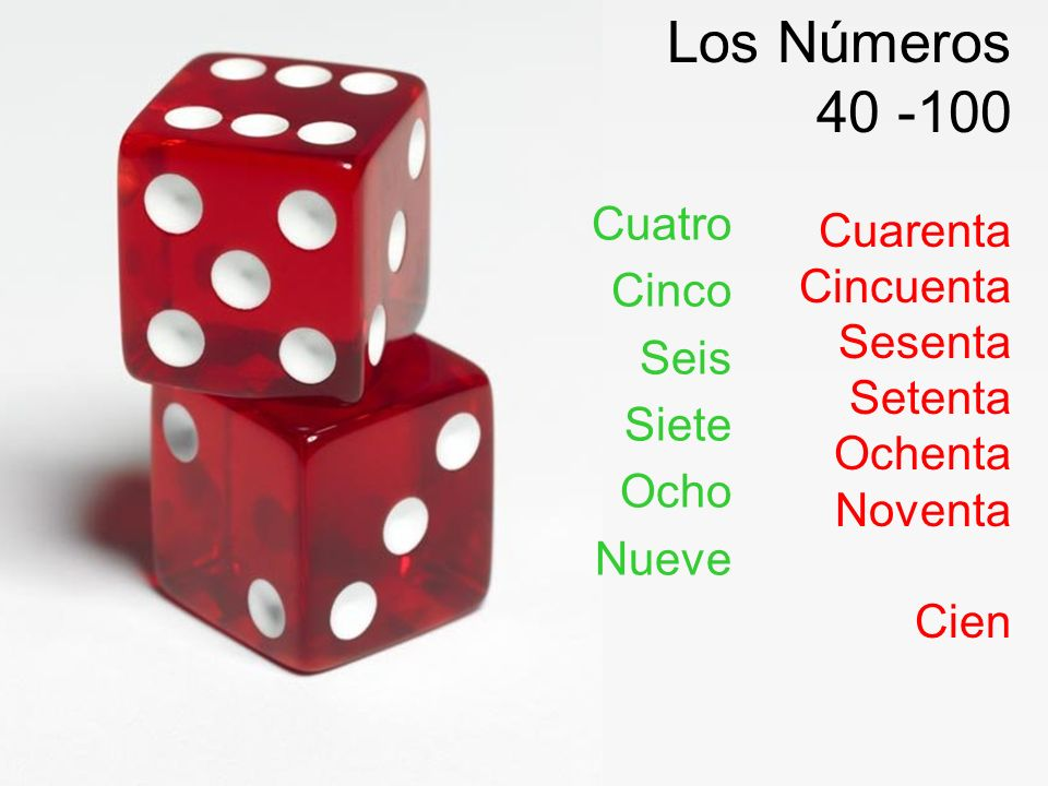 Los Números 40 -100 Cuatro Cuarenta Cinco Cincuenta Seis Sesenta