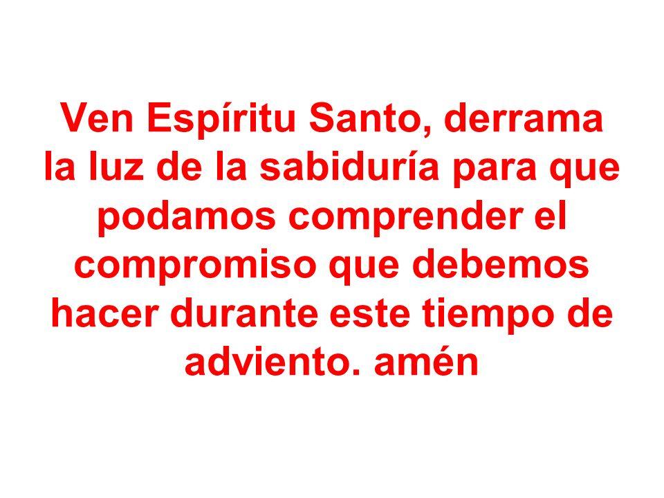 Ven Espíritu Santo, derrama la luz de la sabiduría para que podamos comprender el compromiso que debemos hacer durante este tiempo de adviento.