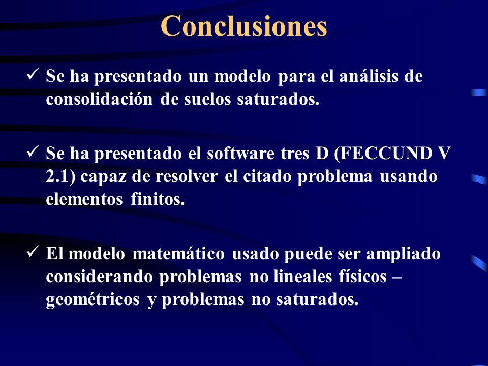 Conclusiones Se ha presentado un modelo para el análisis de consolidación de suelos saturados.