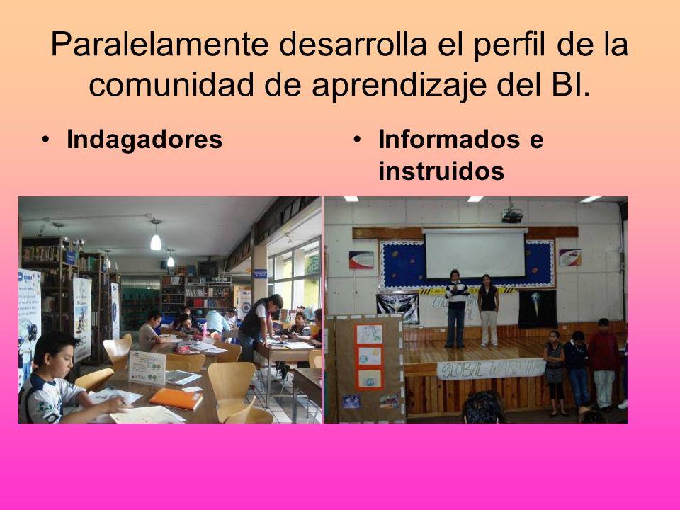 Paralelamente desarrolla el perfil de la comunidad de aprendizaje del BI.