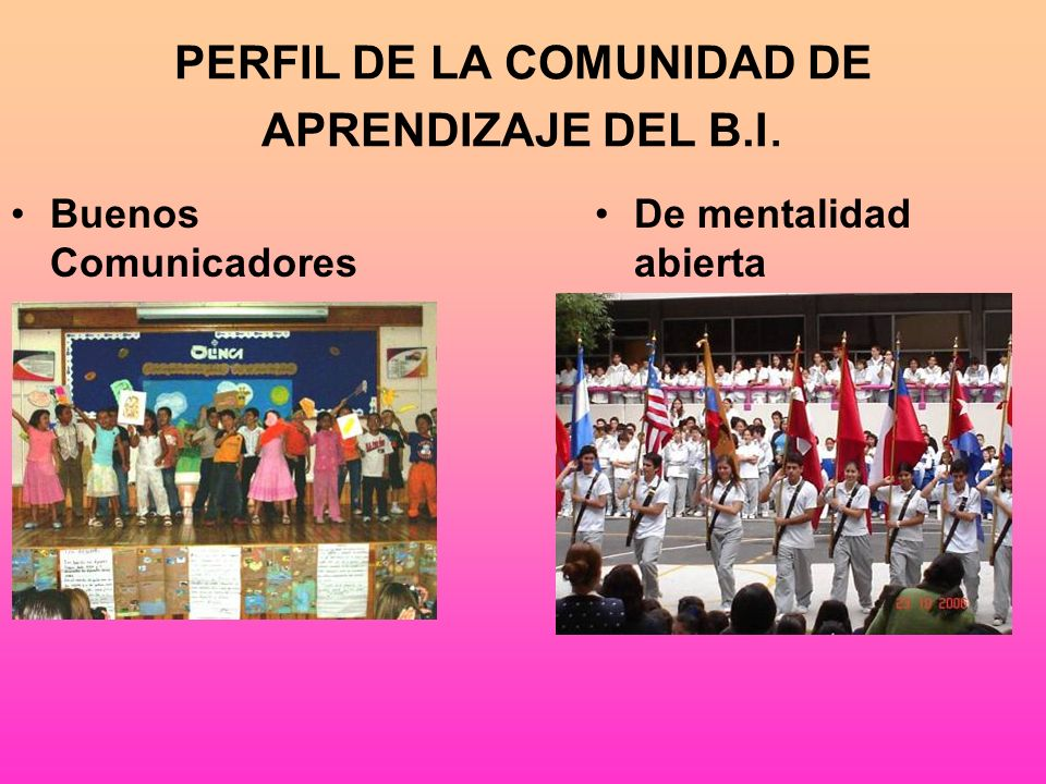 PERFIL DE LA COMUNIDAD DE APRENDIZAJE DEL B.I.