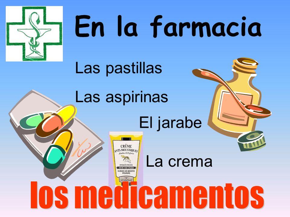 En la farmacia Las pastillas Las aspirinas El jarabe La crema