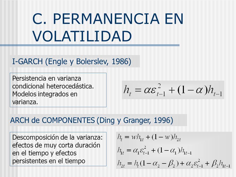 C. PERMANENCIA EN VOLATILIDAD
