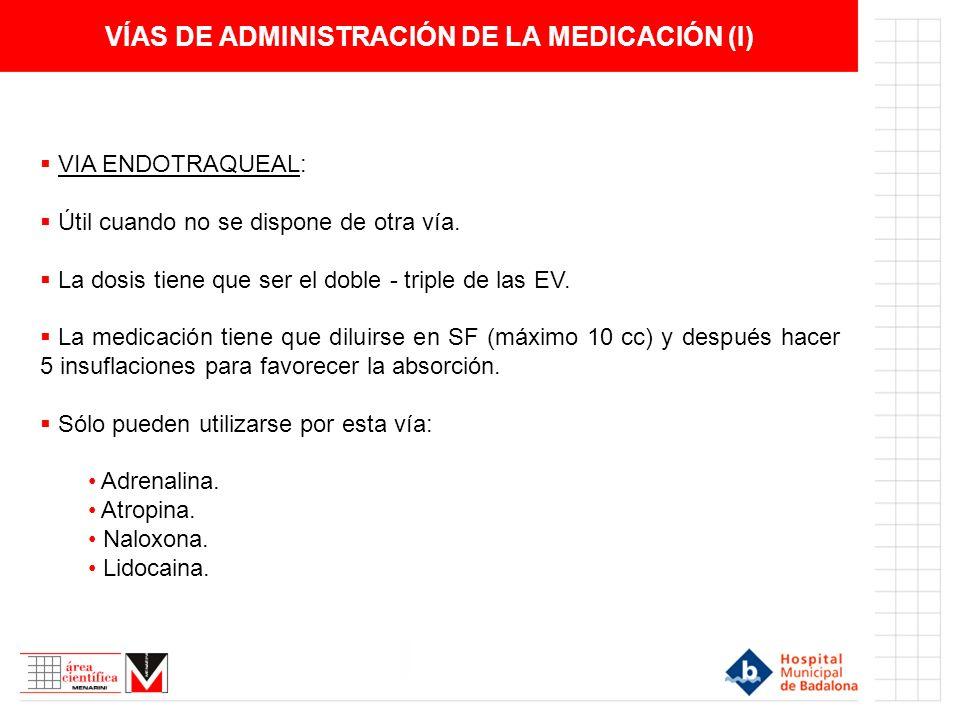 VÍAS DE ADMINISTRACIÓN DE LA MEDICACIÓN (I)