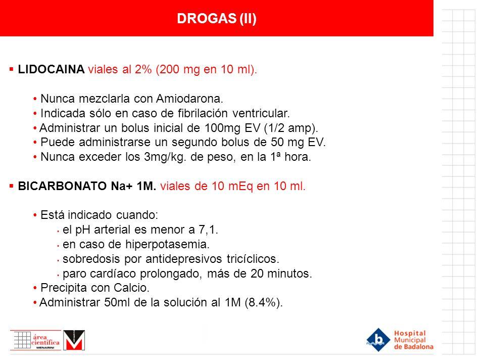 DROGAS (II) LIDOCAINA viales al 2% (200 mg en 10 ml).