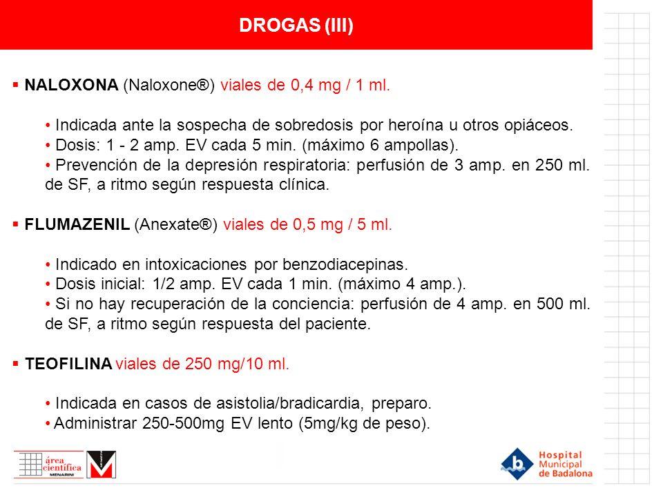 DROGAS (III) NALOXONA (Naloxone®) viales de 0,4 mg / 1 ml.