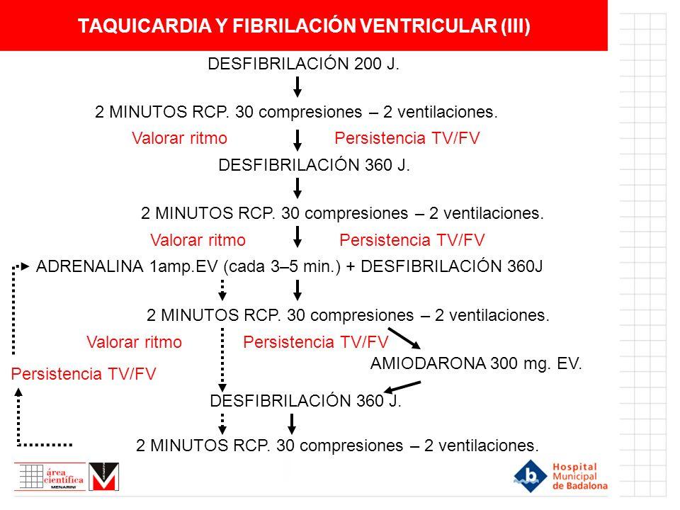 TAQUICARDIA Y FIBRILACIÓN VENTRICULAR (III)