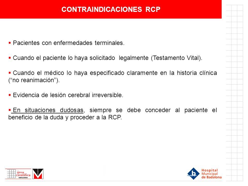 CONTRAINDICACIONES RCP