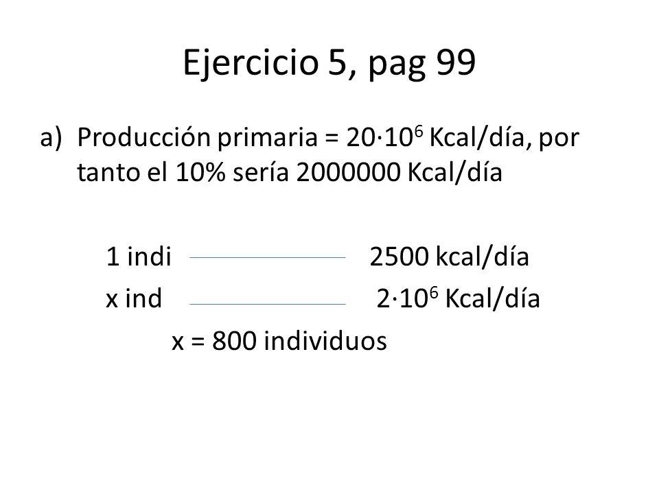Ejercicio 5, pag 99 Producción primaria = 20·106 Kcal/día, por tanto el 10% sería 2000000 Kcal/día.