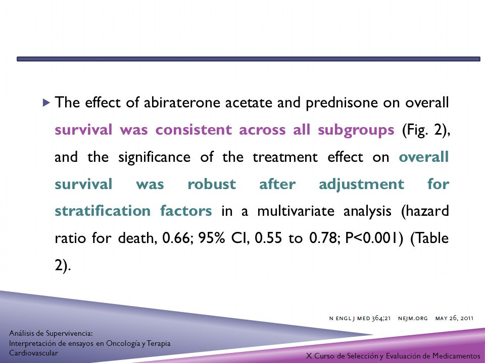 The effect of abiraterone acetate and prednisone on overall survival was consistent across all subgroups (Fig. 2), and the significance of the treatment effect on overall survival was robust after adjustment for stratification factors in a multivariate analysis (hazard ratio for death, 0.66; 95% CI, 0.55 to 0.78; P<0.001) (Table 2).