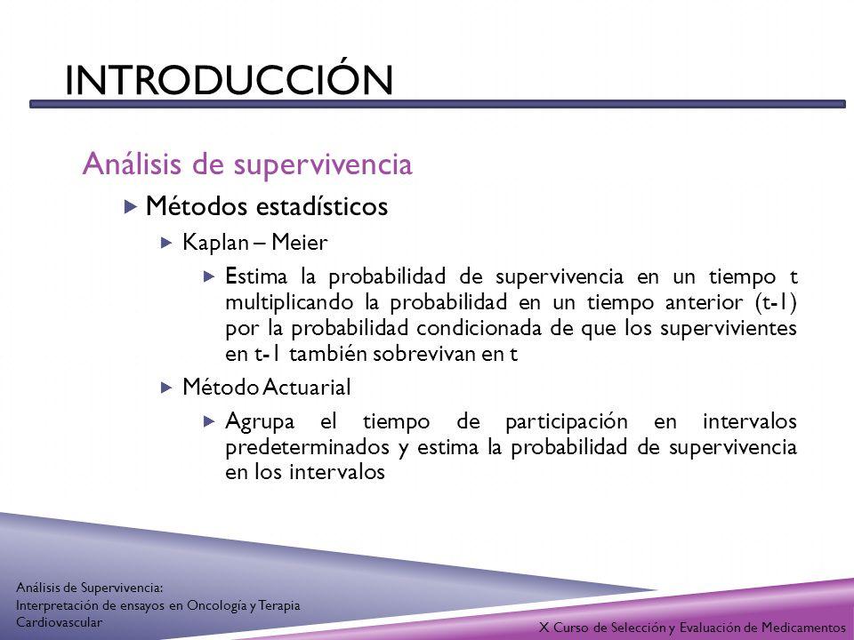 INTRODUCCIÓN Análisis de supervivencia Métodos estadísticos