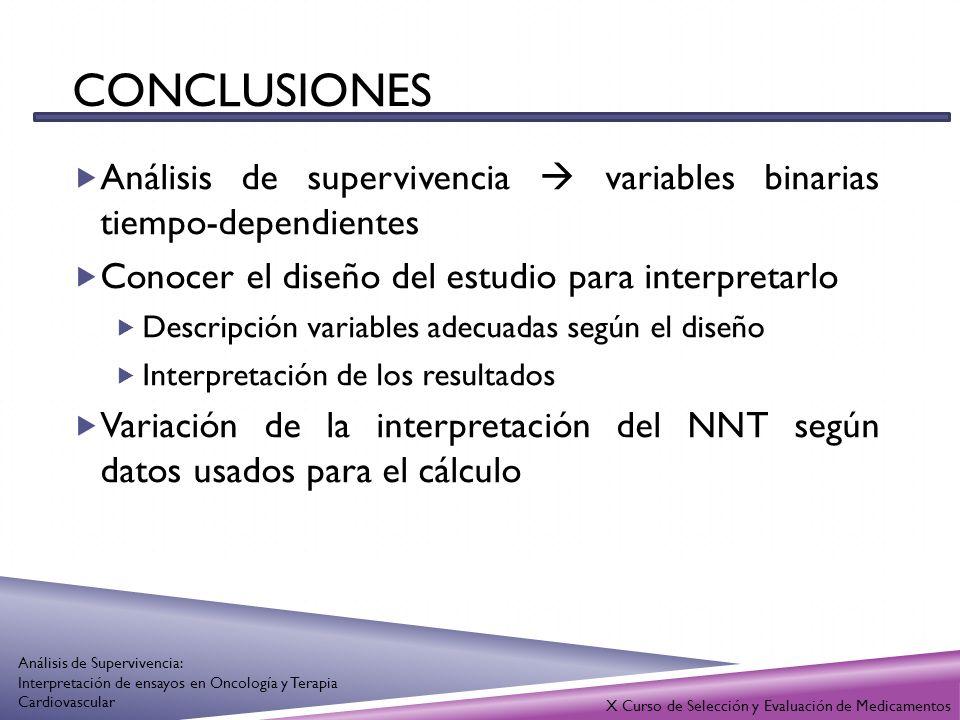 conclusiones Análisis de supervivencia  variables binarias tiempo-dependientes. Conocer el diseño del estudio para interpretarlo.