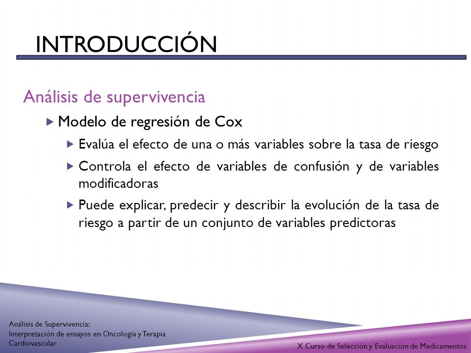 INTRODUCCIÓN Análisis de supervivencia Modelo de regresión de Cox