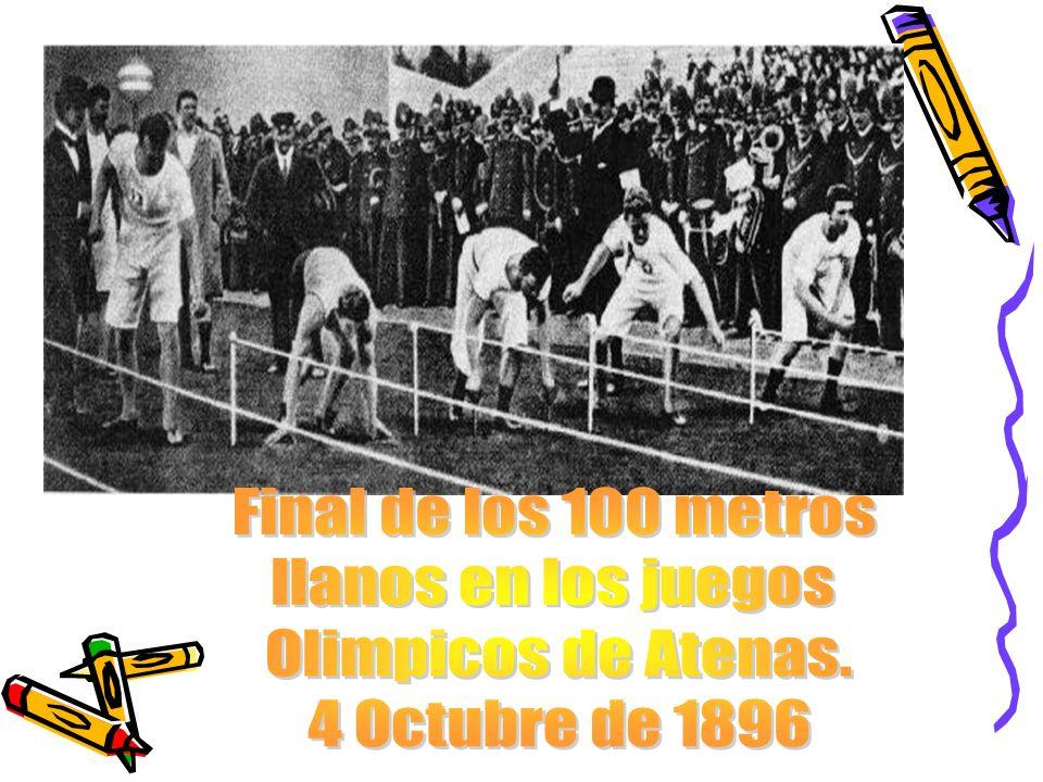 Final de los 100 metros llanos en los juegos Olimpicos de Atenas. 4 Octubre de 1896