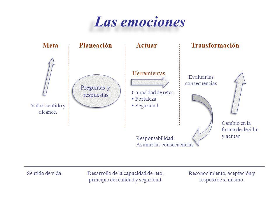 Las emociones Meta Planeación Actuar Transformación Herramientas