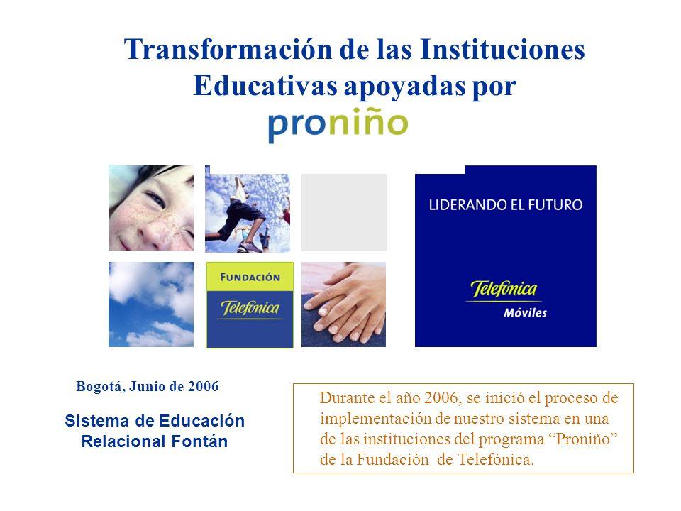 Transformación de las Instituciones Educativas apoyadas por