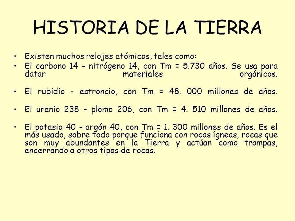 HISTORIA DE LA TIERRA Existen muchos relojes atómicos, tales como: