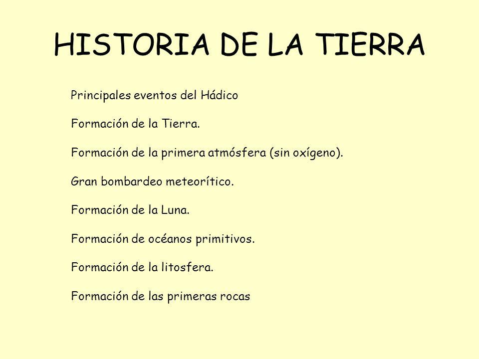 HISTORIA DE LA TIERRA Principales eventos del Hádico