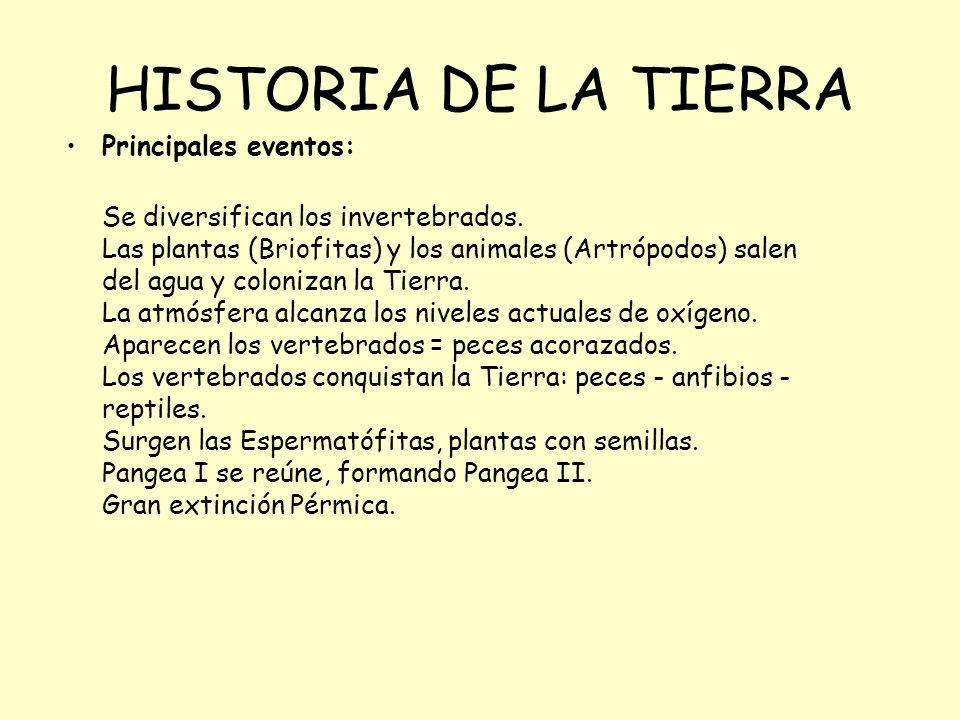 HISTORIA DE LA TIERRA Principales eventos: