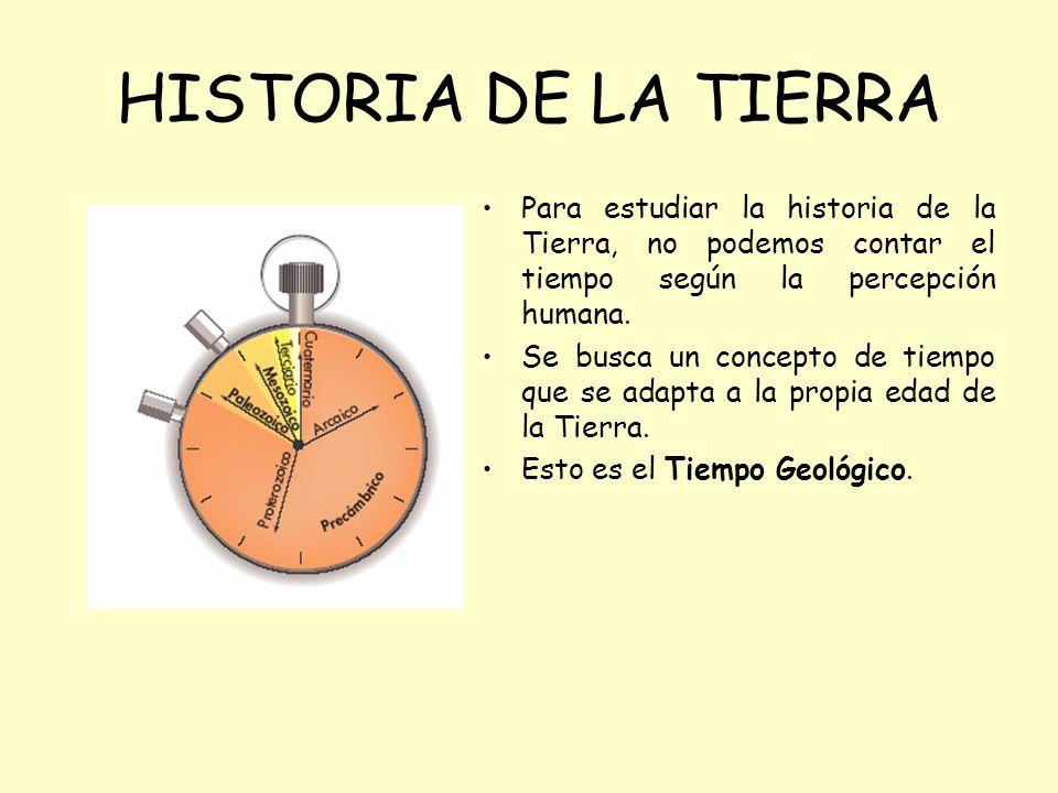 HISTORIA DE LA TIERRA Para estudiar la historia de la Tierra, no podemos contar el tiempo según la percepción humana.
