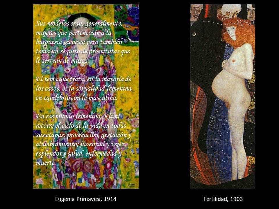 Sus modelos eran, generalmente, mujeres que pertenecían a la burguesía vienesa; pero también tenía un séquito de prostitutas que le servían de musas.