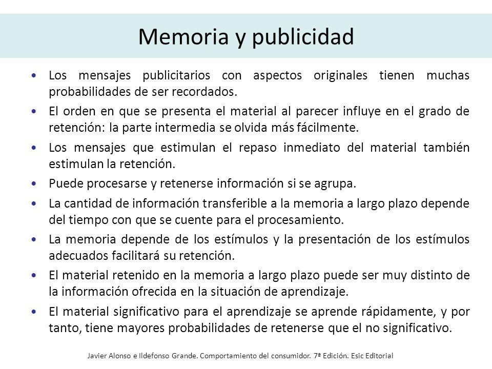 Memoria y publicidad Los mensajes publicitarios con aspectos originales tienen muchas probabilidades de ser recordados.