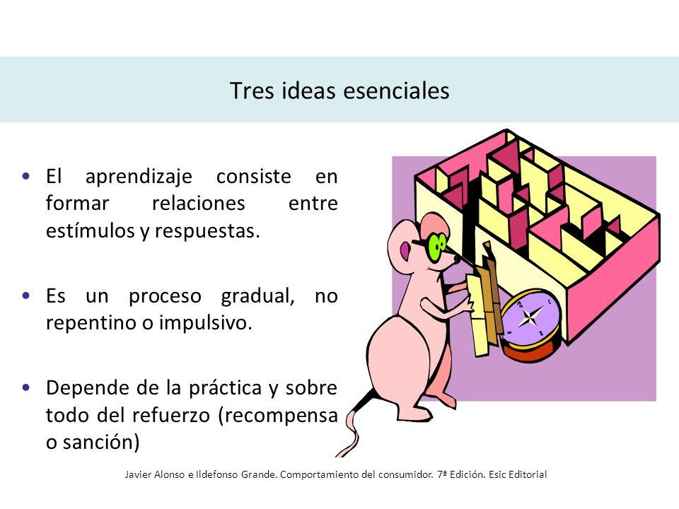 Tres ideas esenciales El aprendizaje consiste en formar relaciones entre estímulos y respuestas. Es un proceso gradual, no repentino o impulsivo.
