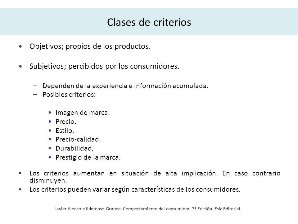 Clases de criterios Objetivos; propios de los productos.