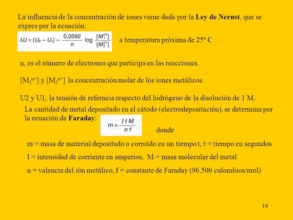 La influencia de la concentración de iones viene dada por la Ley de Nernst, que se expres por la ecuación:
