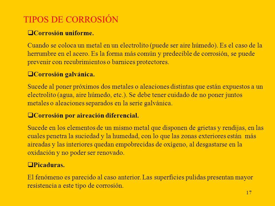 TIPOS DE CORROSIÓN Corrosión uniforme.