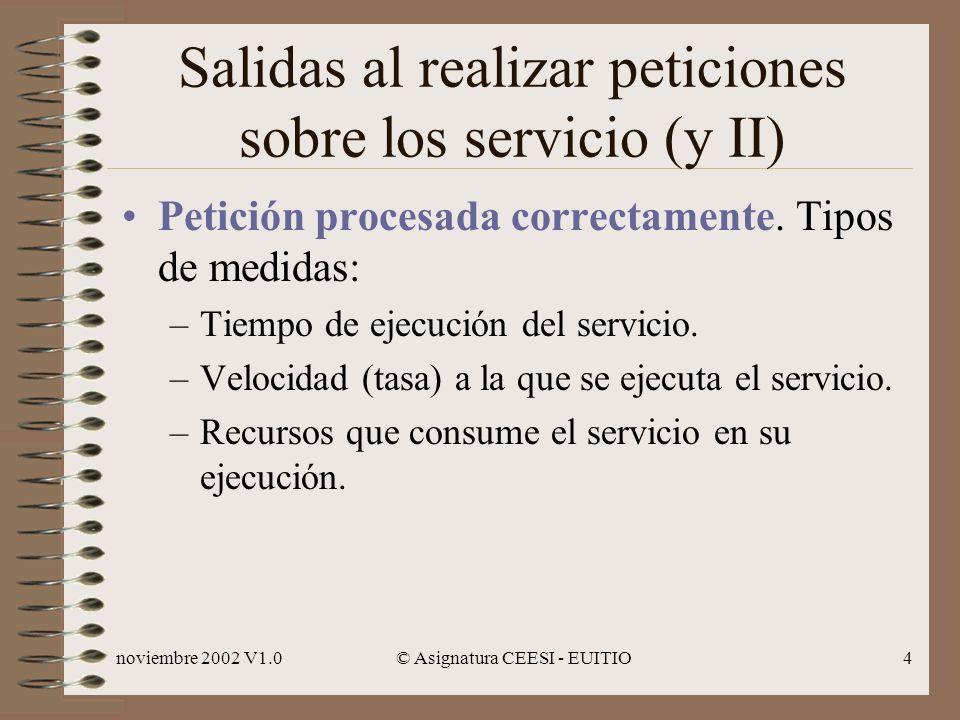 Salidas al realizar peticiones sobre los servicio (y II)