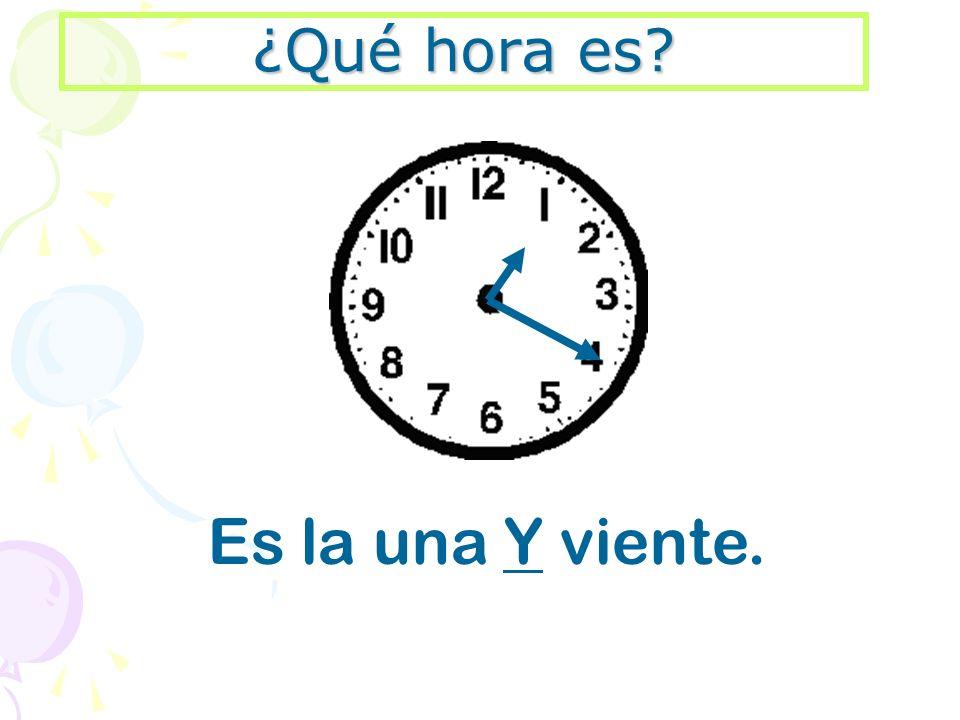 ¿Qué hora es Es la una Y viente.