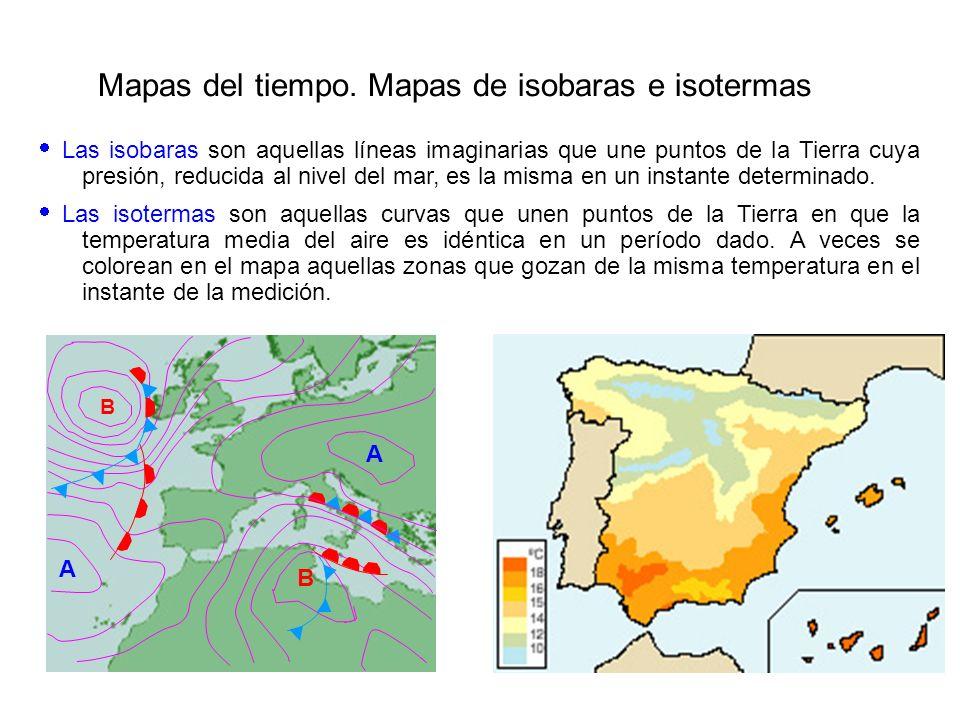 Mapas del tiempo. Mapas de isobaras e isotermas