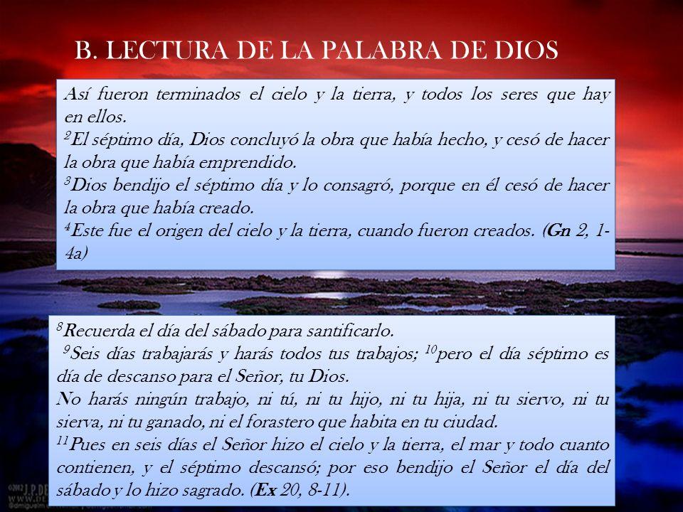 B. LECTURA DE LA PALABRA DE DIOS