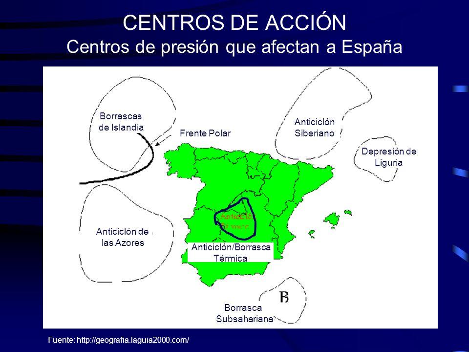 CENTROS DE ACCIÓN Centros de presión que afectan a España
