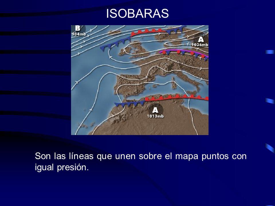 ISOBARAS Son las líneas que unen sobre el mapa puntos con igual presión.